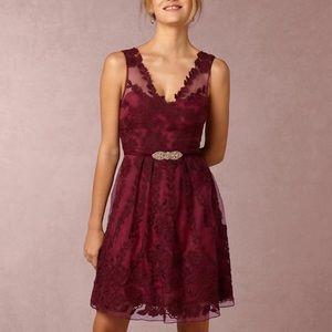 Anthropologie BHLDN Yoana Baraschi Maroon Dress